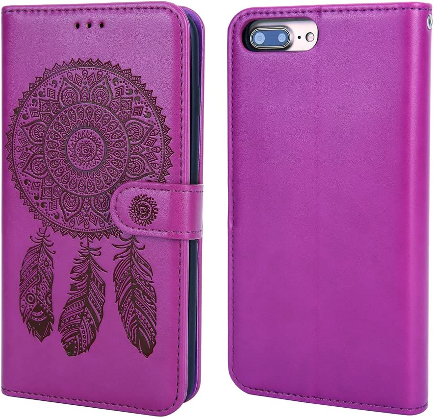 WaterFox Case for iPhone 8 Plus/iPhone 7 Plus, Wallet Leather Case with 2 in 1 Detachable Slim Cover, Women's Vintage Embossed Pattern with 3 Card Slots & Wrist Strap Case - Purple ÿ - Purple