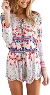 39f982b8a8 Urban CoCo Women s Beach Playsuit Retro Floral Printed Jumpsuit Rompers