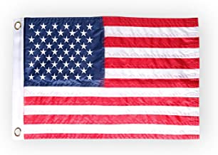 """HOOSUN American Flag 12.5"""" x 18"""" Boat Flag Embroidered Stars USA Flag Boat Marine Bike Car Flag Banner with 2 Brass Grommet,USA Flag for Indoor and Outdoor"""