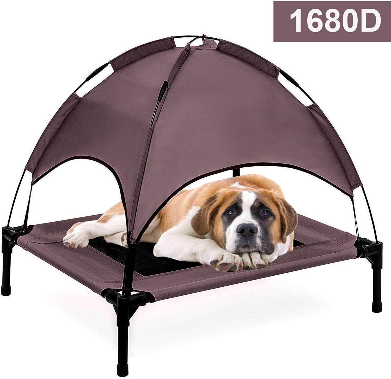 Reliancer Large 30  Elevated Dog Cot with Canopy Shade 1680D Oxford Fabric Outdoor Pet Cat Cooling Bed Tent w Convenient Carrying Bag Indoor Sturdy Steel Frame Portable for Camping Beach (30, Brown)