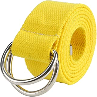 Ayliss Men's Candy Color Belt D-Rings Canvas Webbing Casual Waist Belt