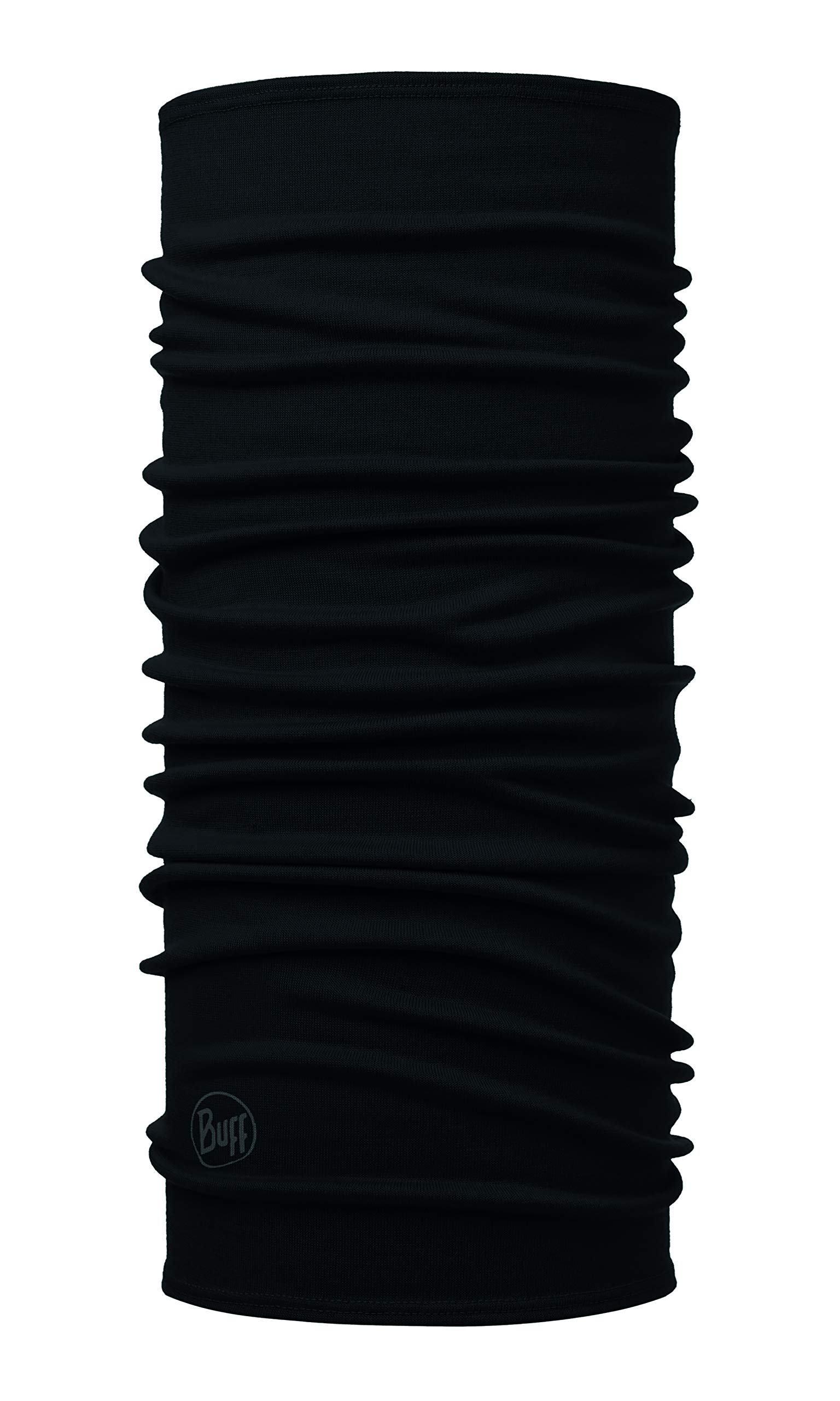 Buff Midweight Merino Wool Multifunktionstuch, Solid Black, one Size