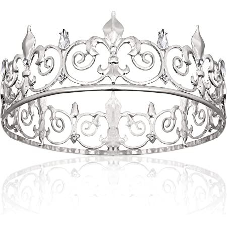 King Crown for Men,Silver Royal Prince Crown and Tiaras for Men Birthday Prom Party Hats Costume