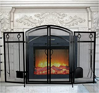 INNO STAGE 3-Panel Solid Fireplace Screen with 2 Doors and Fire Place Tools Sets - Extra Strength Wrought Iron Poker, Brush, Shovel and Firewood Tong Kit for Stove - Black