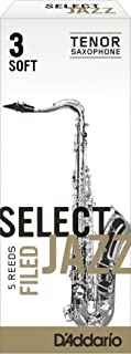 Rico Select Jazz Tenor Sax Reeds, Filed, Strength 3 Strength Soft, 5-pack