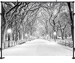 Allenjoy Night Winter Snow Photography Backdrops Background 7x5ft Street Light Chair Photo Studio for Christmas Backdrop
