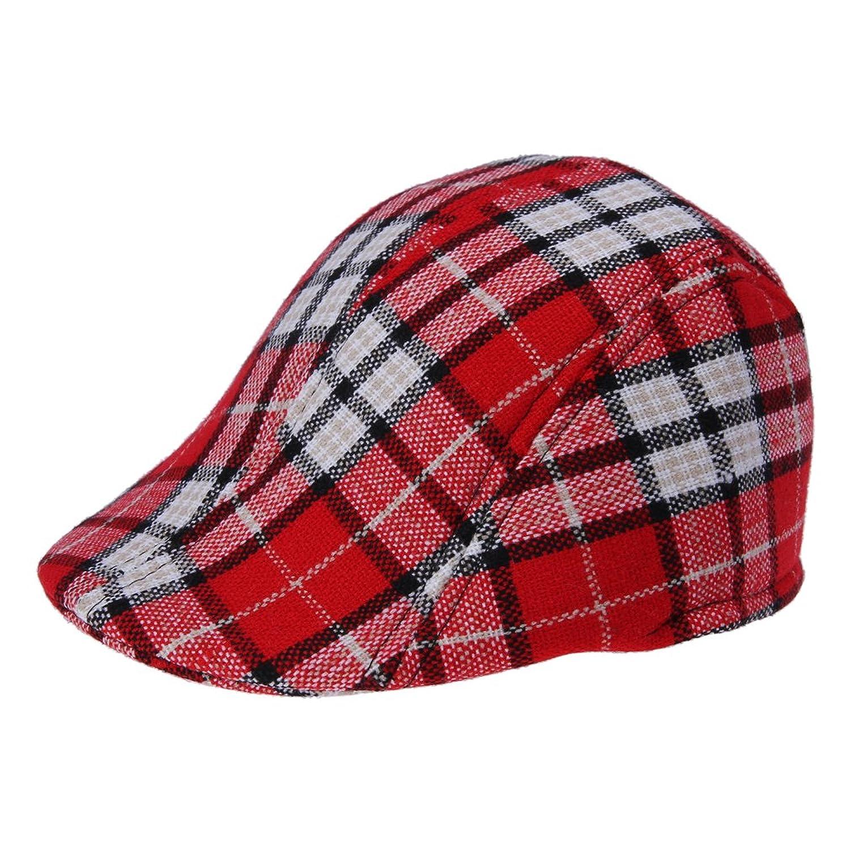 EOZY イングランド風 子供用 ハンチング帽 キッズキャップ キャスケット チュック柄 UVカット 約51-53cm 使いやすい お出かけに適当 レッド