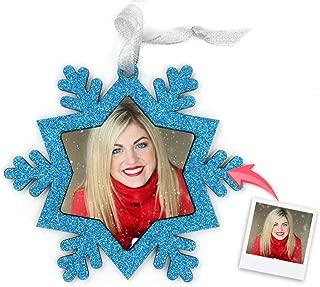 Getsingular Adornos de Navidad para árbol Personalizados con Foto | Adornos con Foto y Purpurina | Máxima Calidad de impresión | Incluye Cinta para Colgar | Modelo Copo Nieve Azul