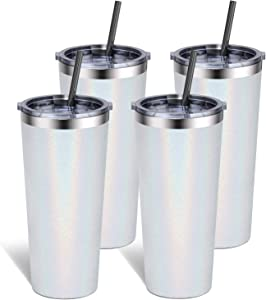 Bastwe Tumbler 22oz Stainless Steel Vacuum Insulated Tumbler with Lid and Straw, Travel Mug Double Wall Coffee Cup for Home, Office, Great for Ice Drinks and Hot Beverage (White Glitter, 4 Pack)