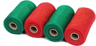 LaRibbons Deco Poly Mesh Ribbon - 6 inch x 30 feet Each Roll - Metallic Foil Red and Green Rolls for Wreaths, Swags and De...