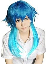 Anogol Hair Cap + Dark Blue Mixed Red Anime Cosplay Wig Girl Short Bob Wigs