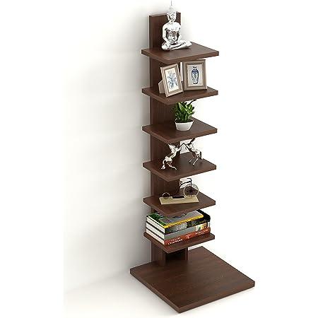 BLUEWUD Engineered Wood Floor Standing Book Shelf Rack Display Case ,Matte Finish,Set Of 8,Wenge