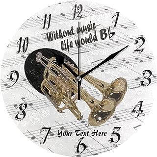 MIKA音楽生命 いトランペット 時計 壁掛け時計 壁掛け 掛け時計 ウォールクロック 静か 連続秒針 かわいい おしゃれ デザイン ギフト 引っ越し 結婚 祝い