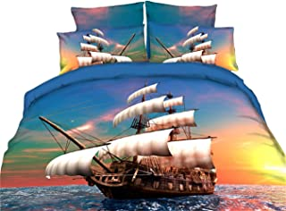 Pirate Duvet Cover Queen Sailboat Bedding Set Tropical Waters Maritime Style Comforter Cover Sunset Marine Pattern Quilt Cover Soft Microfiber Decorative 3 Piece Bedding Set with 2 Pillowcase