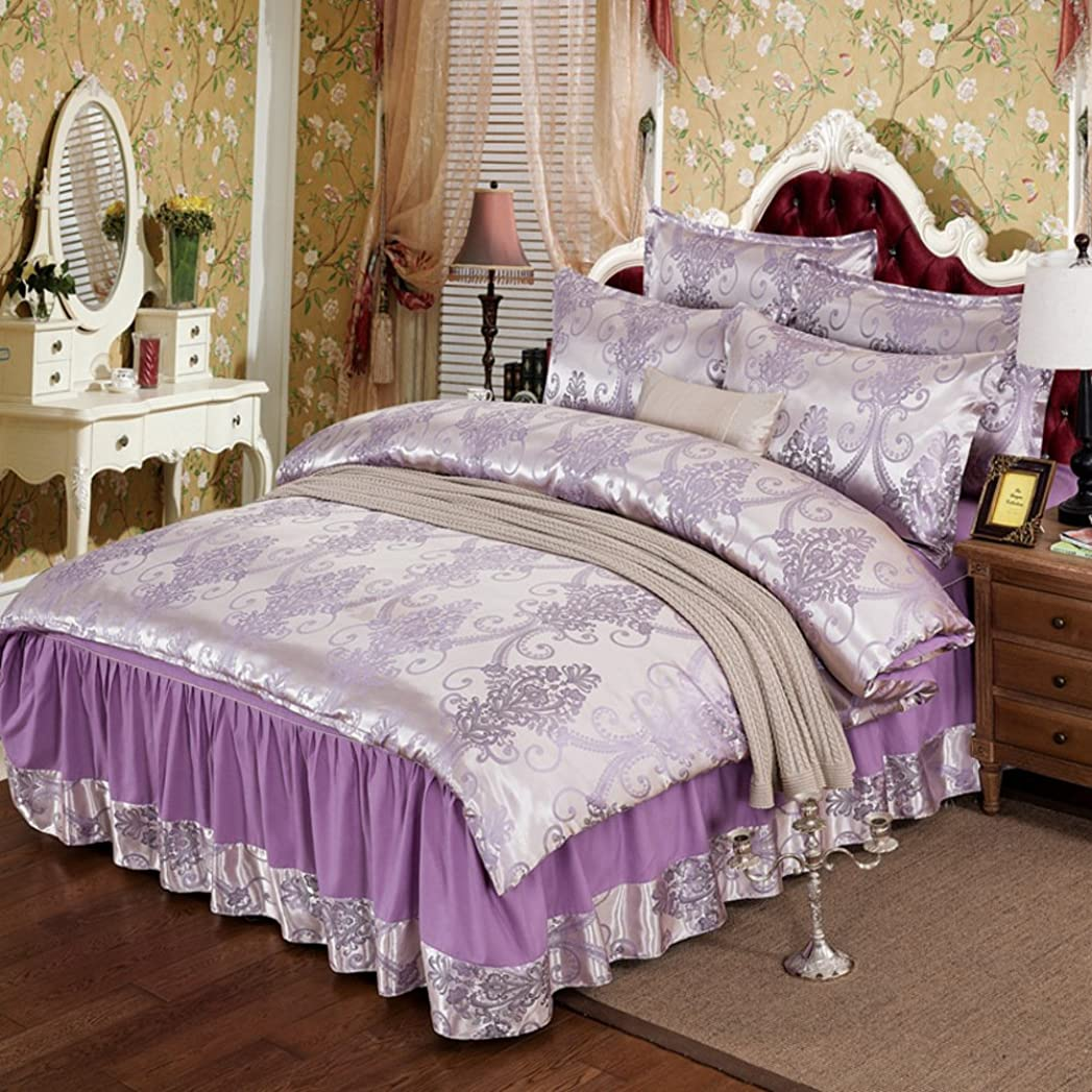 充電個人プレゼントヨーロピアンスタイル 寝具セット ベッドスカート シート ベッドスプレッド 枕 セミダブル ダブル ダマスク織ジャカード-E 150x200cm(59x79inch)