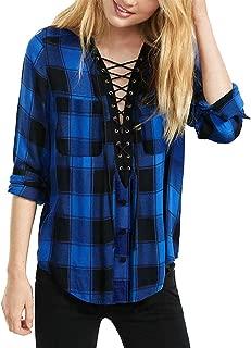 Women Long Sleeve Plaid Shirt V Neck Casual Loose Pocket Button Down Shirts