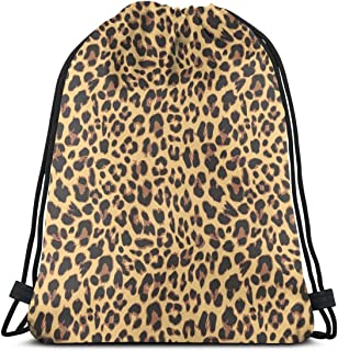 MSGUIDE Drawstring Sports Backpack Leopard Print Lightweight Gym Yoga Sackpack Sting Bag Casual Outdoor Daypack For Women Men