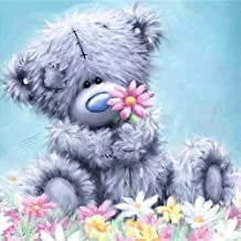 MXJSUA 5D Diamond Painting Kit by Numbers DIY Crystal Rhinestone Cross Stitch Embroidery Arts Craft Picture Supplies for Home Wall Decor,Tatty Teddy 12x12 inches