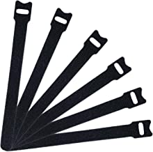 Attmu 50 PCS Reusable Fastening Cable Ties, Microfiber Cloth 6-Inch Hook and Loop Cord Ties, Black