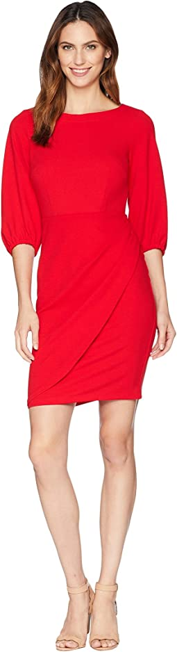 Elbow Sleeve Boat Neck Crepe Dress