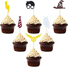 Inspired Cupcake Toppers, 30 PCS Wizard Birthday Party Decorations Supplies Hogwarts Party Novelty Decorations