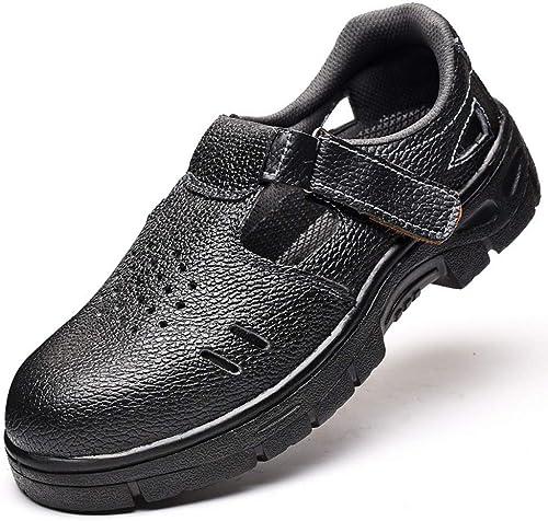 EGS-chaussures Chaussures de Travail en en Plein air pour Hommes, Assurance Contre Le Travail d'été, Sandales, Chaussures de sécurité, Anti-brisant, Chaussures de Cricket (Couleur   Noir, Taille   41)