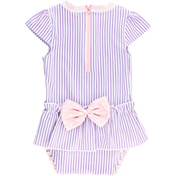 3-6m Lilac Seersucker RuffleButts Infant//Toddler Girls Peplum Skirt One Piece Rash Guard Swimsuit