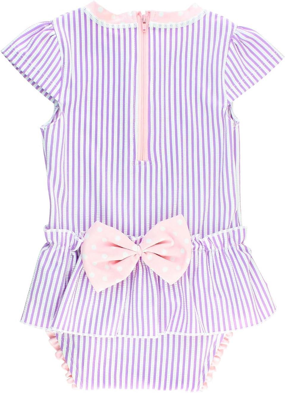 RuffleButts Infant/Toddler Girls Peplum Short Sleeve One Piece Swimsuit UPF 50+ Sun Protection: Clothing, Shoes & Jewelry