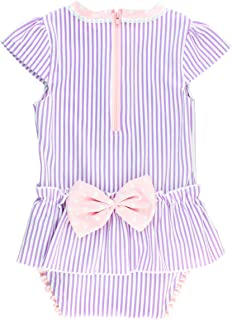 Infant/Toddler Girls Peplum Short Sleeve One Piece Swimsuit UPF 50+ Sun Protection