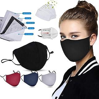 4Pcs Unisex Face Cotton Bandanas with 8Pcs ActivatedCarbon Filter,Machine Washable,Reusable and Breathable Cotton Fabric,...