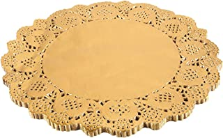 Paper Doily – 60-Pack Round Doilies Paper Lace Placemats for Cakes, Desserts, Baked Treat Display, Ideal for Weddings, Formal Event Decoration, Tableware Decor, Gold - 12 Inches in Diameter