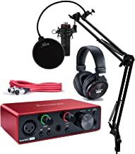 Focusrite Scarlett Solo Studio 3rd Gen USB Audio Interface and Recording Bundle with Microphone, Headphones, XLR Cable, Knox Studio Stand, Shock Mount and Pop Filter (7 Items)