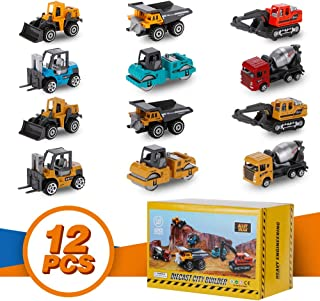 YOOBITION Diecast Construction Vehicles, 12pcs Engineering Toys Cars and Trucks Push & Play Set with Moving Parts , Perfect for Toddlers Stocking Stuffers Cake Toppers and Gift