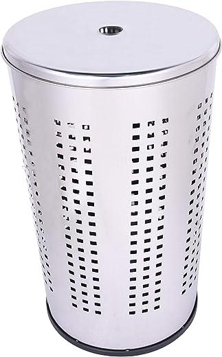Ribelli Wäschebox Wäschekorb mit Deckel Wäschetonne 50 Liter verchromt - praktische Wäschesammler in V-Form mit Luftlöchern auch als...