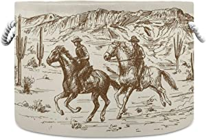 WELLDAY Cotton Rope Basket Western Desert Cowboy Baby Laundry Basket for Blankets Toys Storage Basket