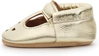 Mary Jane Moccasins - Genuine Leather Soft Sole Baby Girl Shoes for Newborns, Infants, Babies, and Toddlers