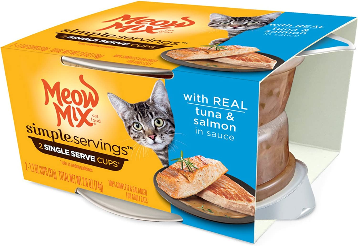 Meow Mix Simple Servings Wet Cat Food with Real Tuna and Salmon in Sauce, 1.3 Oz Cups (Pack of 24 Cups)