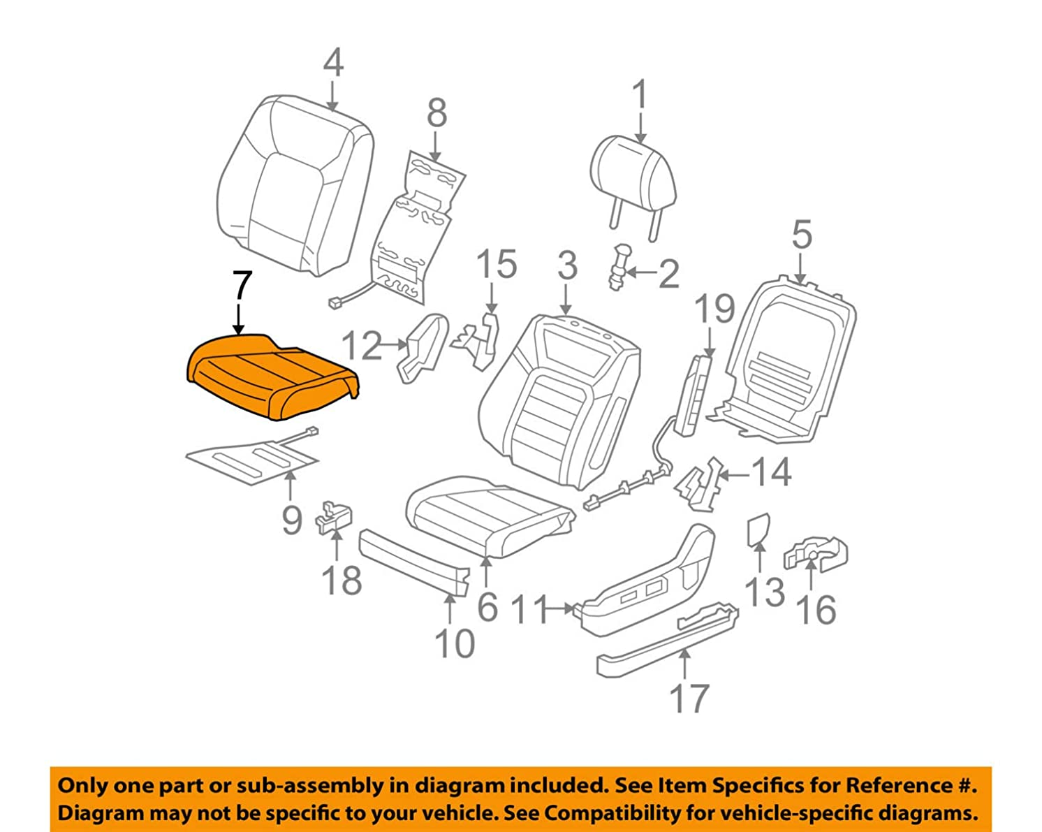 Honda Genuine 81531-SZA-A42ZB Seat Cushion Trim Cover, Left, Front