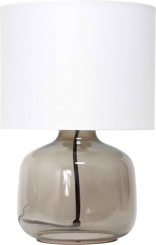 Simple Designs 激安通販販売 LT2064-SMW Glass 価格 Raindrop Fabric Table Lamp Shade