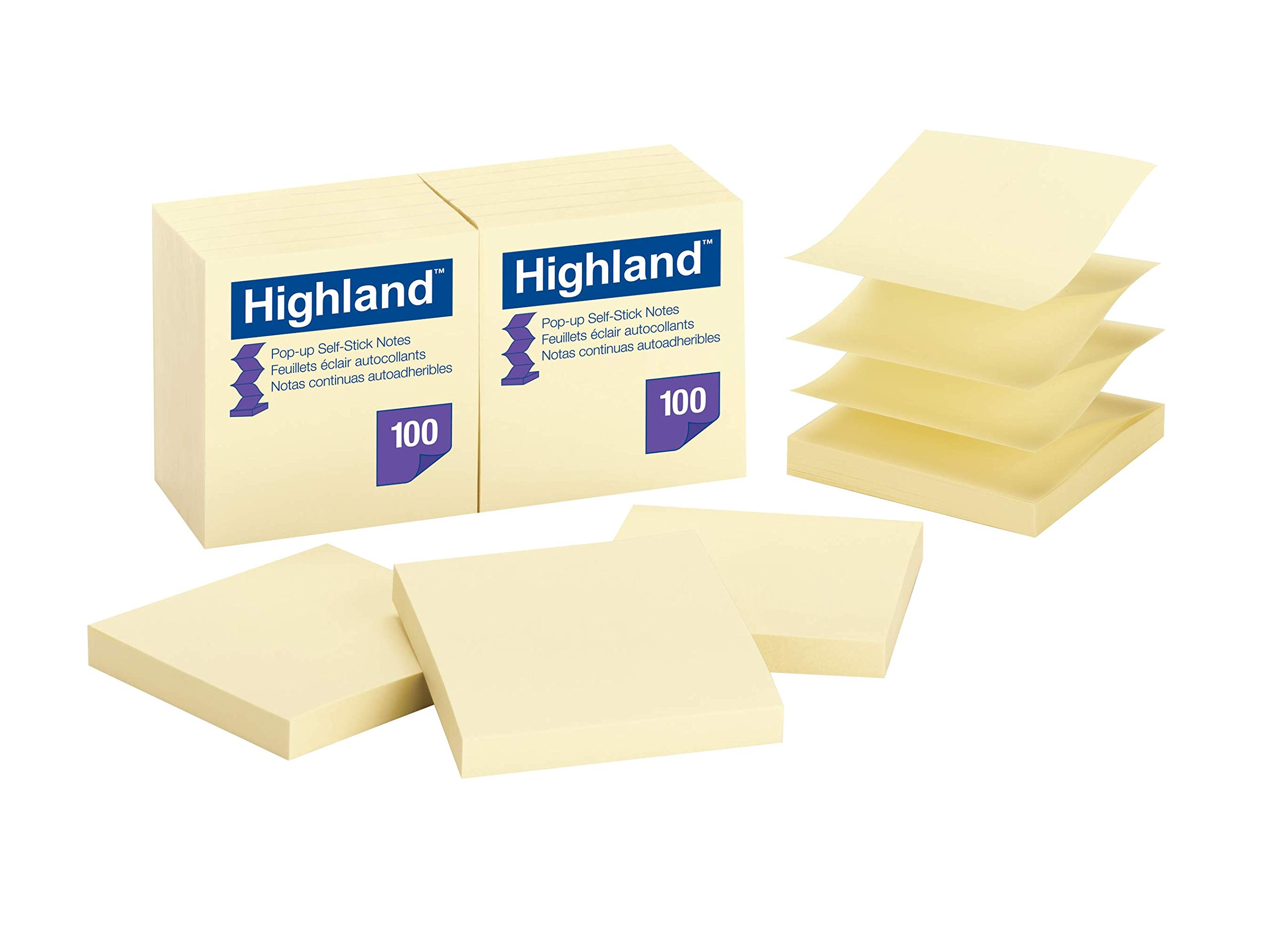 3in x 3in. Highland/™ Self-Stick Notes Pack Of 12 Yellow