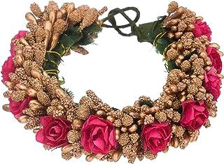 Sanjog Women Hair Accessory - Multicolor Juda Maker Flower Gajra (Dark Pink)