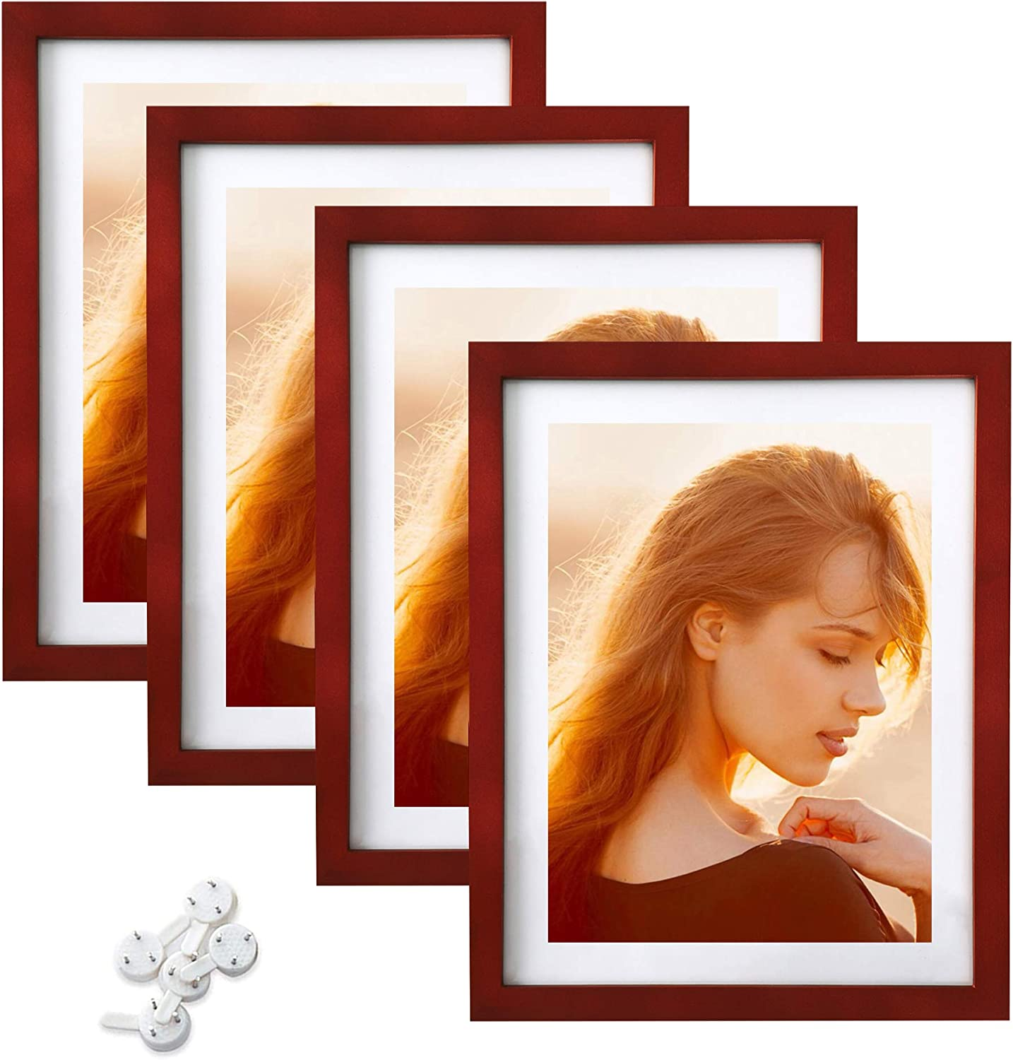 ABZQH Reservation 11x14 Picture Frames Max 71% OFF Walnut Dark Brown Set Solid of W 4