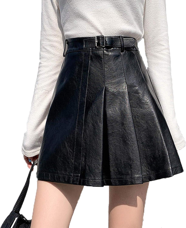Women Slim PU High Waist Short Leather Skirt with Belt Casual Mini A-line Pleated Skirt