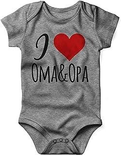 Mikalino Babybody mit Spruch für Jungen Mädchen Unisex kurzarm I love Oma & Opa | handbedruckt in Deutschland | Handmade with love