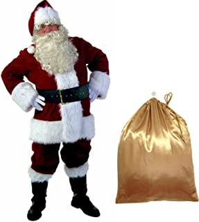 Ya-cos Christmas Santa Claus Luxury Suit Deluxe Adult Cosplay Costume Outfit 10 Pcs