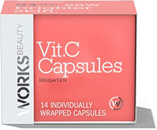 Works Beauty Vitamin C Serum for Face, Highly Concentrated Topical Single Use Vitamin C Capsules to Brighten Dark Spots and Reveal Visibly Radiant, Brightened Skin, 14 ct