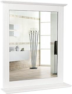 Homfa Espejo de Pared Espejo Baño Espejo Colgante para Dormitorio Baño Madera con 1 Balda Blanco 57X12X68cm