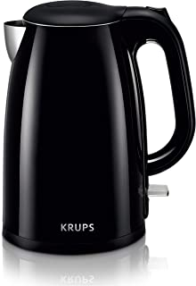KRUPS Cool-touch Stainless Steel Double Wall Electric Kettle, 1.5L, Black