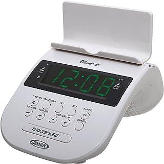 JENSEN JCR-295-W Bluetooth Clock Radio with Cellphone Holder, White