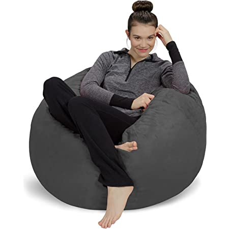 Amazon Com Sofa Sack Plush Ultra Soft Bean Bag Chair Memory Foam Bean Bag Chair With Microsuede Cover Stuffed Foam Filled Furniture And Accessories For Dorm Room Charcoal 3